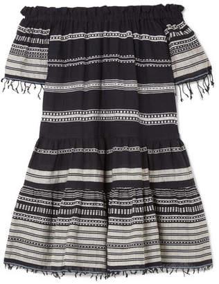 Lemlem Kal Off-the-shoulder Striped Cotton-blend Gauze Mini Dress - Black