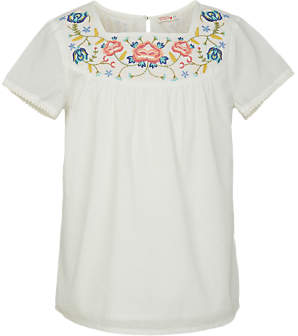 Fat Face Girls' Embroidered Emma Blouse, White