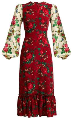 The Vampire's Wife - Belle Gypsy Print Crepe Dress - Womens - Burgundy Multi