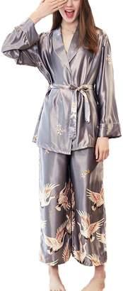 Asskyus Women s Pajamas Tops and Pants Sets Satin 8944b2f23