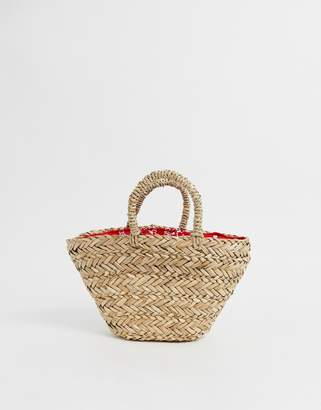 Asos Design DESIGN natural straw mini basket bag with bandana print lining