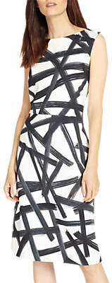 Phase Eight Bea Brush Stroke Dress, Multi/Ivory
