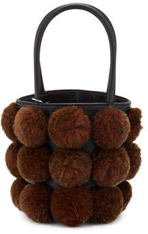 Alexander Wang Roxy Cage Mini Bucket Bag w/ Shearling Pompoms