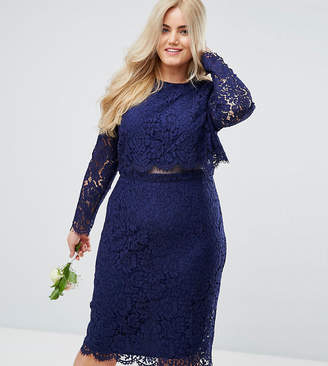 Asos DESIGN Curve Bridesmaid lace long sleeve midi pencil dress