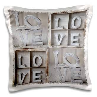 3dRose Word Love, white wooden letters - Pillow Case, 16 by 16-inch