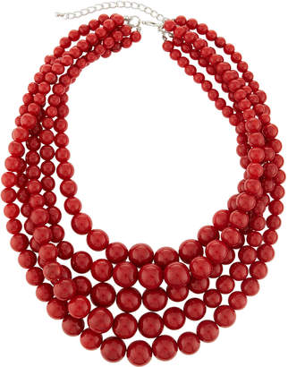 Kenneth Jay Lane Five-Row Beaded Necklace, Red