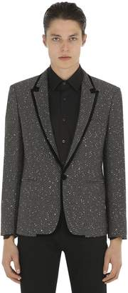 Saint Laurent Sequined Tweed Jacket W/ Velvet Trim