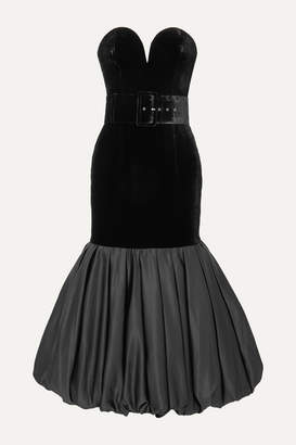 Rasario Stapless Velvet And Gathered Duchesse-satin Midi Dress - Black
