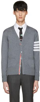 Thom Browne Grey Classic V-Neck Cardigan $950 thestylecure.com