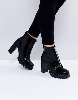 Asos ENZO Leather Zip Heeled Boots