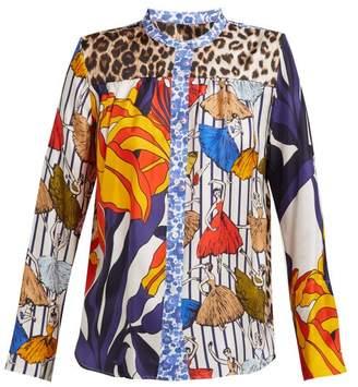 La Prestic Ouiston - Peace Floral Print Band Collar Silk Twill Shirt - Womens - Multi
