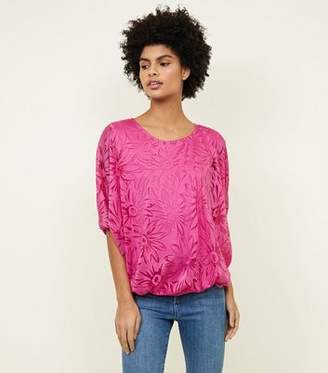 bf2750b5e2 at New Look. Apricot Bright Pink Floral Burnout Top