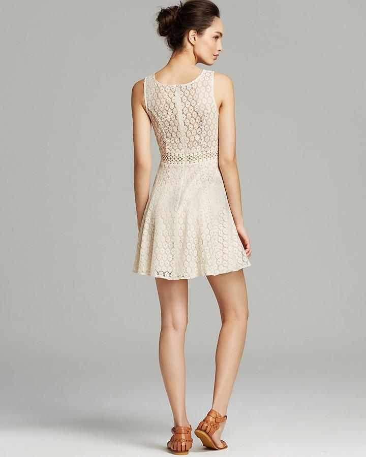 Aqua Dress - Crochet Lace Inset