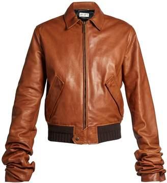 Extra long-sleeves leather bomber jacket