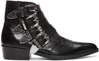 Toga Virilis Black Leather Four-Buckle Boots