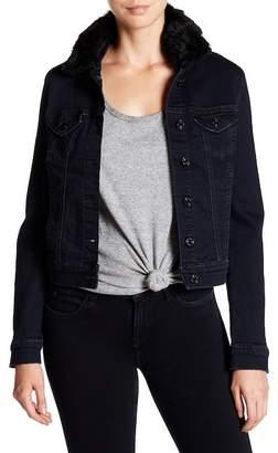 Mavi Jeans Samantha Faux Fur Trim Denim Jacket