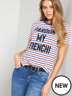 Warehouse Pardon My French Stripe Jersey Tee