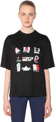 Prada Logo Printed Cotton Jersey T-Shirt