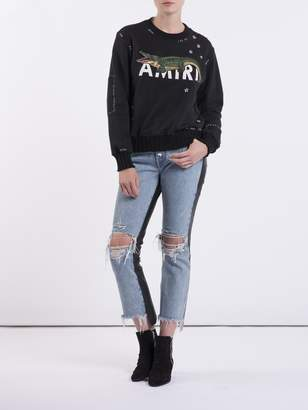 Amiri Leather denim crop flare jeans