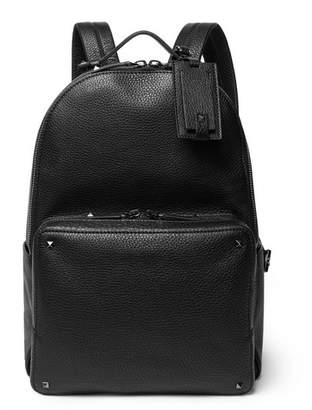 Valentino Rockstud Pebble-Grain Leather Backpack