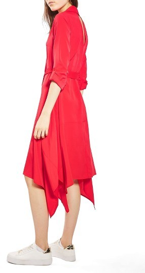 Women's Topshop Handkerchief Hem Midi Shirtdress 4