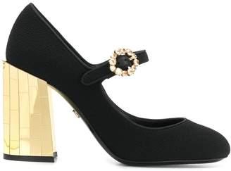 Dolce & Gabbana metallic chunky heel mary jane pumps