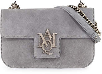 Alexander McQueen Insignia Suede Chain Satchel Bag, Gray