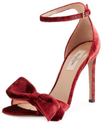 Valentino Garavani Velvet Bow Sandal