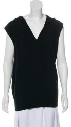 Allude Cashmere Hooded Sleeveless Top Black Cashmere Hooded Sleeveless Top