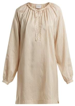 Marios Schwab On The Island By Floreana Silk Blend Dress - Womens - Cream Stripe