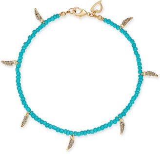 Thalia Sodi Gold-Tone Pavé Horn & Heart Charm Ankle Bracelet, Created for Macy's