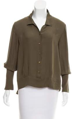 Theyskens' Theory Silk Long Sleeve Blouse