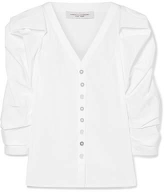 Carolina Herrera Cotton-blend Poplin Blouse - White