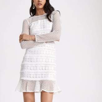 River Island White long sleeve lace dress