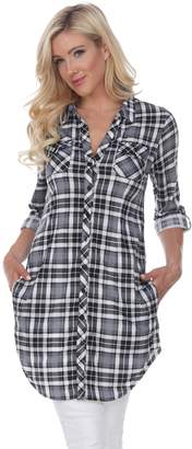 Women's White Mark Plaid Tunic