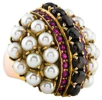 Ring 14K Black Star Sapphire, Synthetic Ruby & Pearl Retro