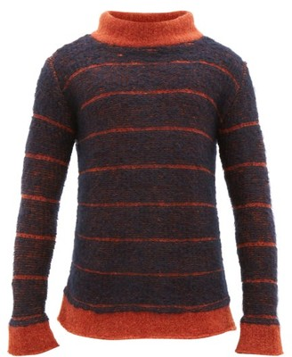 Eckhaus Latta Striped Mock Neck Sweater - Mens - Navy Multi