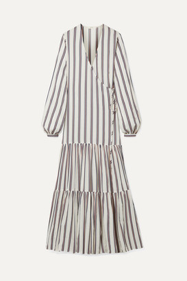 MATIN - Tiered Striped Cotton-blend Voile Wrap Maxi Dress - White