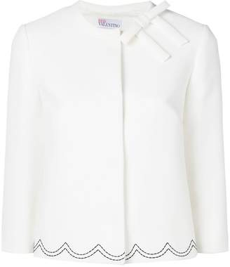 RED Valentino scallop embroidered cropped jacket