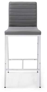 Whiteline Modern Imports Lily Counter stool, Gray faux leather, chrome frame. Set of 2