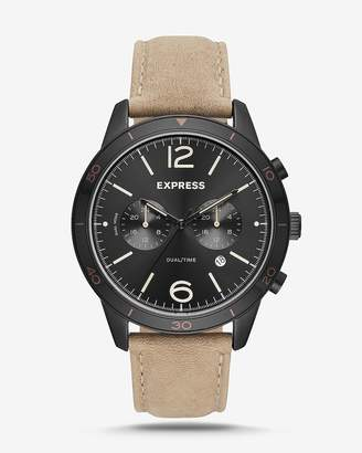 Express Tan Leather Strap Multi-Function Watch
