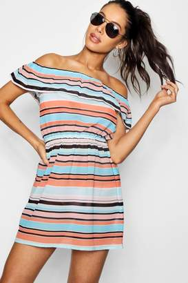 boohoo Summer Stripe Bardot Beach Dress