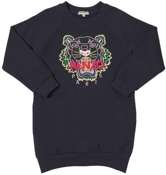 Kenzo Tiger Embroidery Cotton Sweatshirt Dress