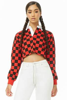 Forever 21 Checkered Long Sleeve Polo Shirt
