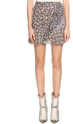 Etoile Isabel Marant Loz Printed Ruffle Short Skirt