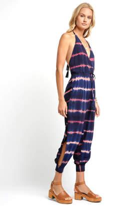 Olivaceous Halter Tie Dye Surplice Jumpsuit