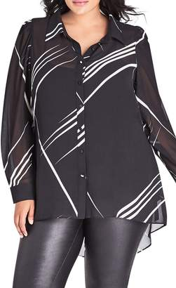 City Chic Line Up High/Low Sheer Blouse