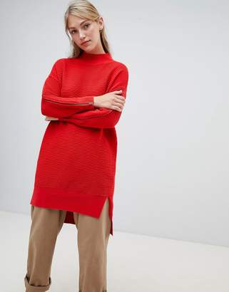 French Connection Ottoman high neck sweater dress with zip detail