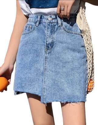 d7bd0062a10d Qiangjinjiu Women's Mini Skirt Sexy Denim Summer Short Pencil Jean Skirt XS
