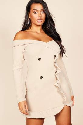 boohoo Plus Bardot Tuxedo Button Mini Dress